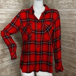 Sanctuary red plaid flannel nordstrom M